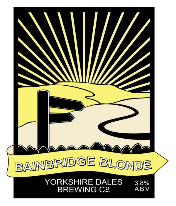 label from Bainbridge blonde, Yorkshire Dales beer