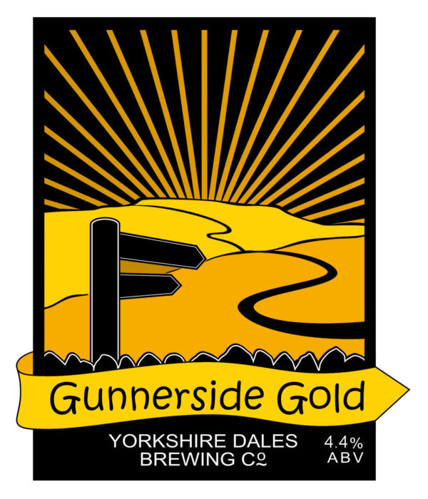 lable from Gunnerside Gold beer by Yorkshire Dales Brewery