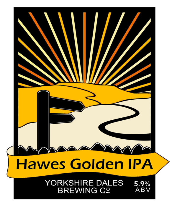 label for Hawes Golden IPA Yorkshire beer, from Yorkshire Dales Brewery