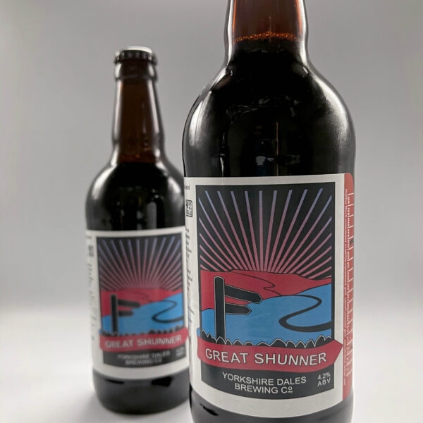 a bottle of Great Shunner beer from Yorkshire Dales Brewery