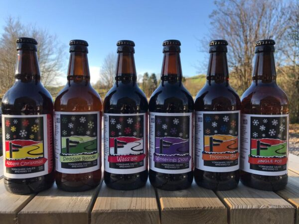Christmas beer bottles from Yorkshire Dales Brewery